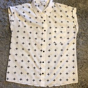 Forever 21 Tops - Forever 21 patterned cuffed sleeve polo